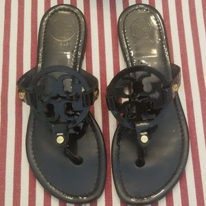 Tory Burch Black Miller Sandals, Perfect Condition